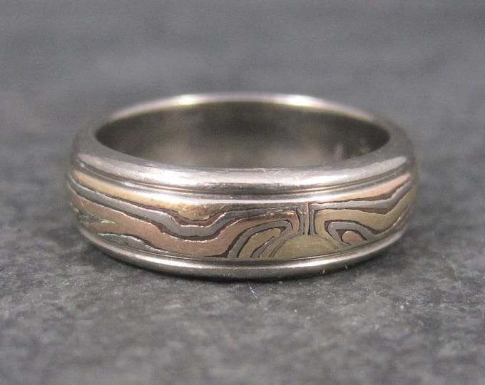 Vintage 14K Mokume Gane Wedding Band Ring Size 6.5 George Sawyer