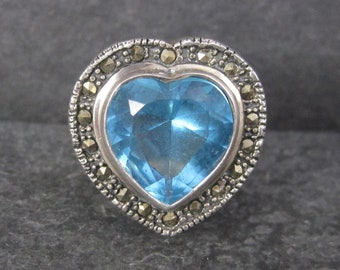 Vintage Marcasite Topaz Heart Ring Size 8