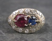 Antique 14K Pink Blue Sapphire Diamond Ring Size 4.25