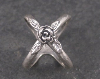 Vintage Sterling Rose Crossover Ring Size 8