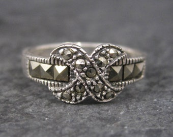 Vintage Sterling Marcasite X Ring Size 4.75