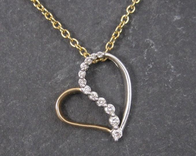 Featured listing image: Vintage 90s 10K Two Tone Diamond Heart Journey Pendant