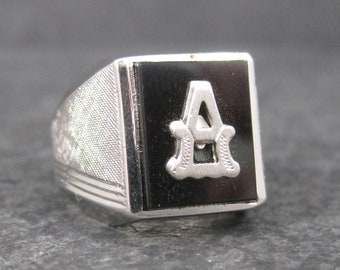 Vintage Sterling Onyx Initial A Ring Size 9 New Old Stock