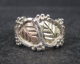 Wide Vintage Black Hills Gold Silver Leaf Ring Size 7