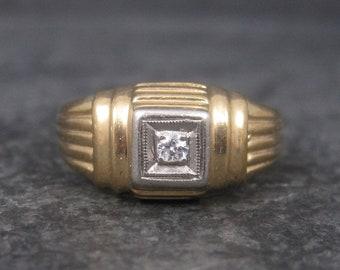 Vintage 14K Two Tone Diamond Ring Size 7