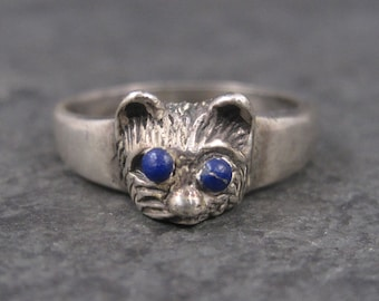 Vintage Sterling Lapis Cat Ring Size 7