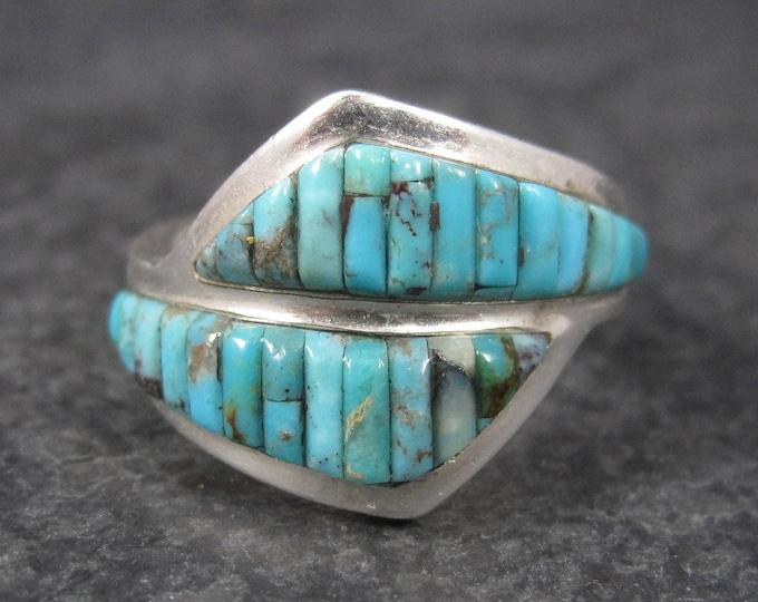 Vintage Raised Turquoise Inlay Ring Sterling Size 6 David Freeland Jr