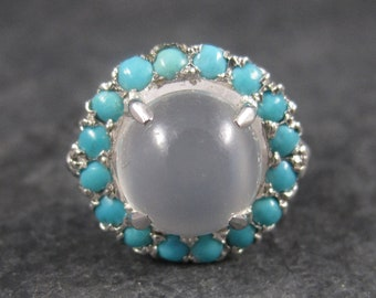 White Moonstone Turquoise Halo Ring Size 6 Sterling Silver