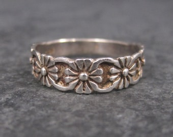 Vintage Sterling Floral Posy Band Ring Size 6.5