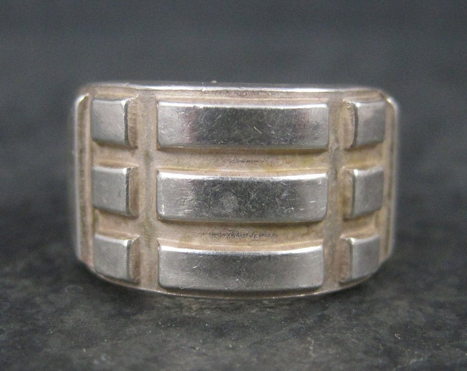 Heavy Vintage Tribal Sterling Band Ring Size 5