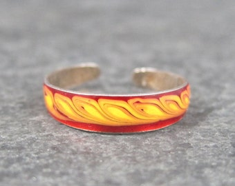 Vintage 90s Sterling Red and Orange Enamel Toe Ring