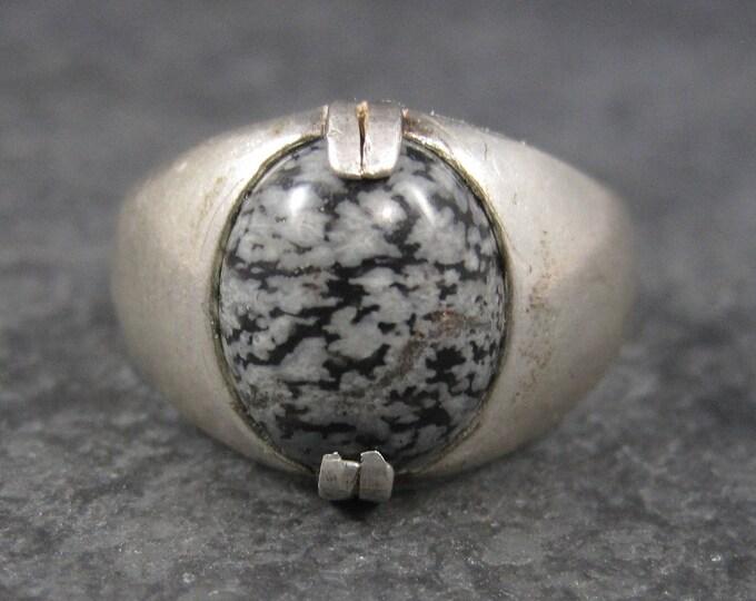Mens Vintage Snowflake Jasper Ring Sterling Size 10