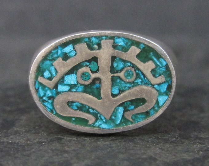 Vintage Mexican Sterling Turquoise Inlay Ring Size 11