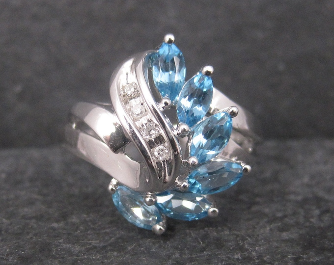 Vintage 10K White Gold Topaz Diamond Ring Size 7.25