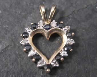 Small Vintage 10K Sapphire Heart Pendant