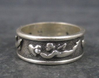 Vintage Sterling Cherub Angel Band Ring Size 3.5