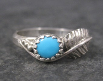 Vintage Navajo Turquoise Feather Ring Sterling Size 5.25 Robert Lincoln
