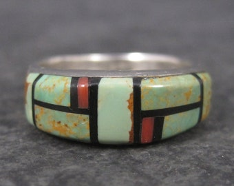 Vintage Southwestern Green Turquoise and Coral Inlay Ring Size 6
