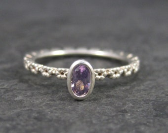 Dainty Sterling Amethyst Flower Ring Size 7.25