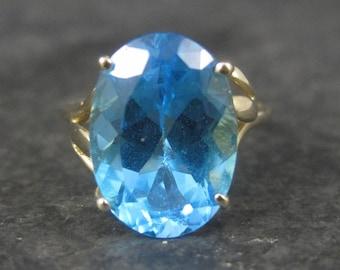 Vintage 10K Yellow Gold 5.5 Carat Blue Topaz Ring Size 6.5