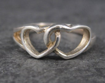 Vintage Sterling Double Heart Ring Size 8