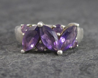 Vintage Sterling Marquise Amethyst Ring Size 8