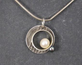 Vintage Sterling Pearl Circle Pendant