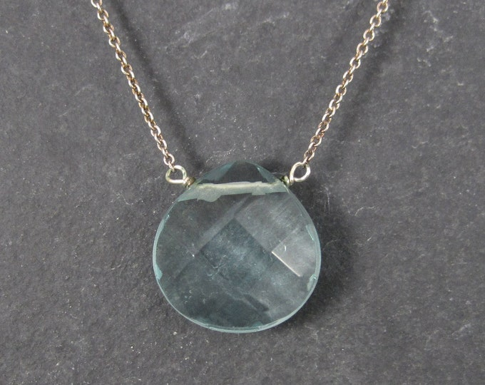 Italian Sterling Faceted Blue Topaz Briolette Pendant Necklace