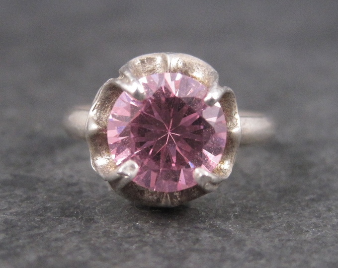 Vintage Mexican Sterling Pink Cubic Zirconia Ring Size 5.25