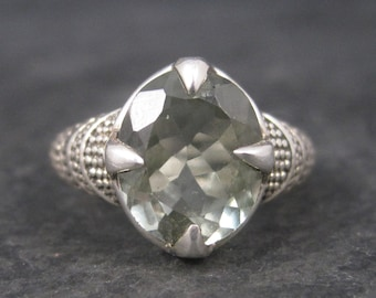 Vintage Sterling Green Amethyst Ring Size 8