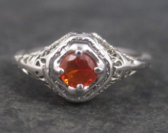 Vintage Art Deco 18K Filigree Fire Opal Ring Size 7
