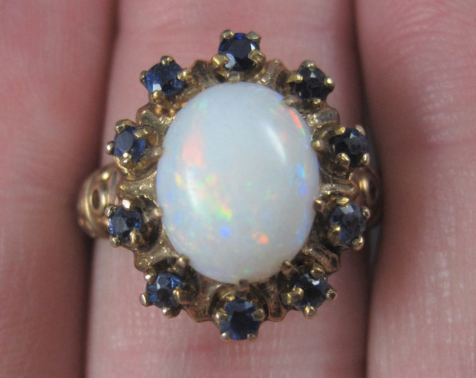 Vintage 10K Opal Sapphire Halo Ring Size 6.5