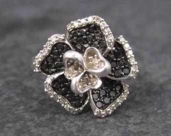 Vintage Sterling Black Diamond Flower Ring Size 5
