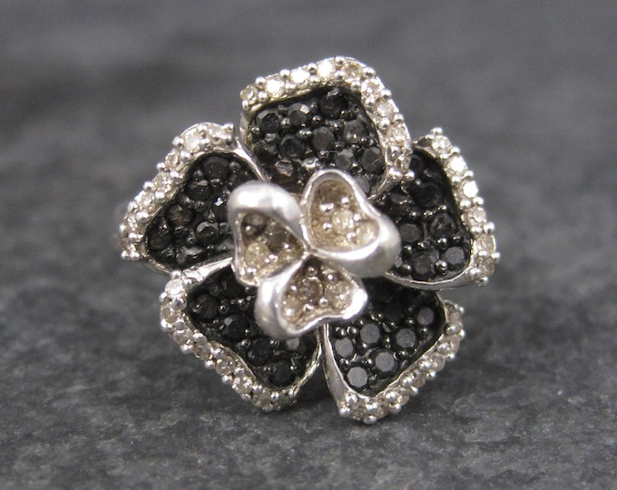 Vintage Sterling Black Diamond Flower Ring Size 5