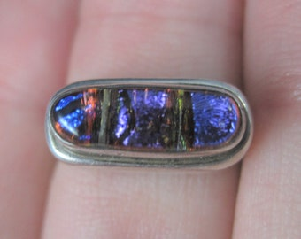 Vintage Sterling Dichroic Glass Ring Size 6
