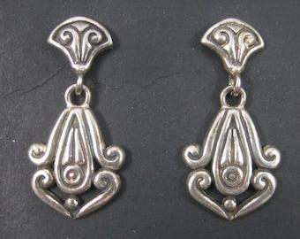 Vintage Sterling Victorian Style Earrings