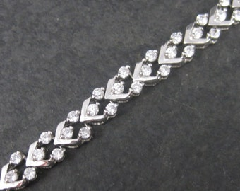 Vintage 90s Sterling Silver Cubic Zirconia Bracelet 7 Inches