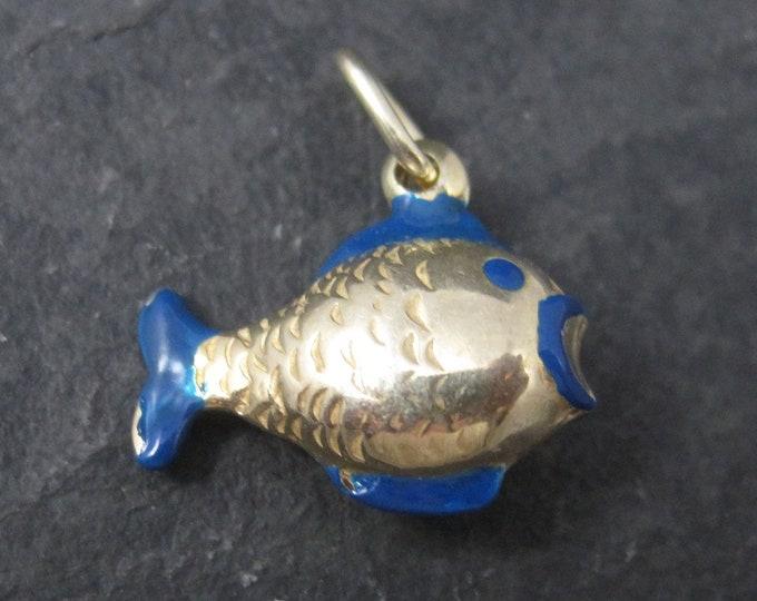Vintage Gold Over Sterling Blue Enamel Fish Pendant