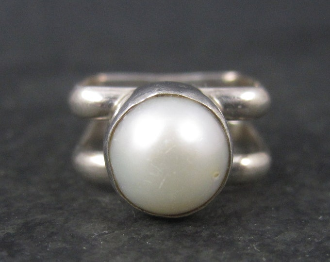 Vintage Sterling Square Pearl Ring Size 6.5