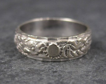 Vintage 18K White Gold 6mm Dragon Phoenix Wedding Band Ring Size 6