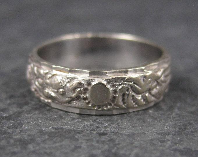 Vintage 18K White Gold 6mm Dragon Phoenix Wedding Band Ring Size 6