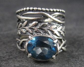 Wide Vintage Sterling 3 Carat Blue Topaz Ring Size 6