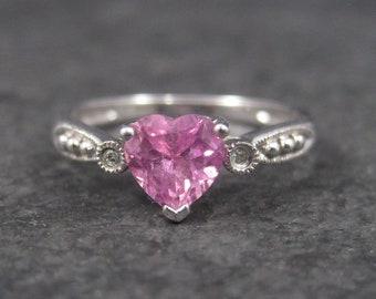 Vintage 90s 10K Pink Topaz Heart Ring Size 7