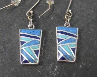 Vintage Southwestern Sterling Lapis Turquoise Inlay Reversible Pueblo Earrings