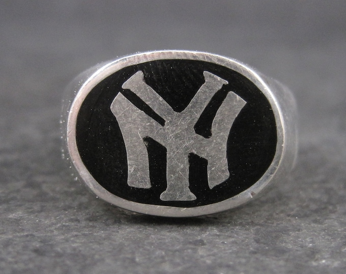 Vintage Sterling Onyx New York Yankees Ring Size 9
