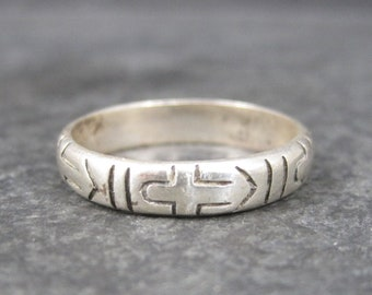 Vintage Sterling Cross Band Ring Size 9