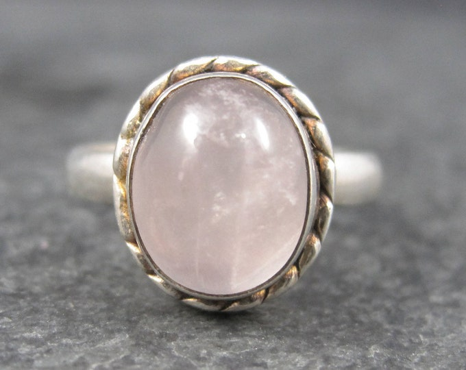 Vintage Sterling Rose Quartz Ring Size 8