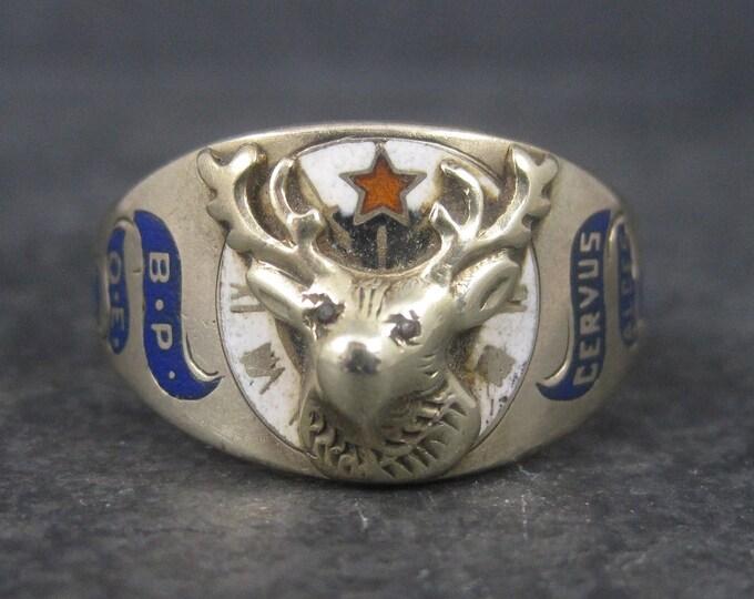 Vintage 10K Enamel Elks Lodge Ring Size 12 Ostby Barton