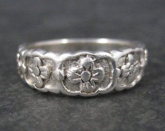 Vintage Sterling Posy Style Floral Band Ring Size 8.5