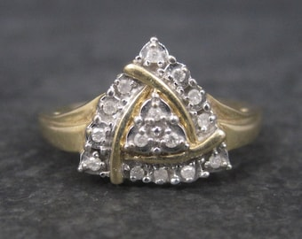 Vintage 10K Triangle Diamond Ring Size 10